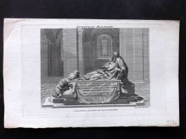 European Magazine 1793 Print. Tomb of Cardinal Richelieu. Sorbonne. Paris